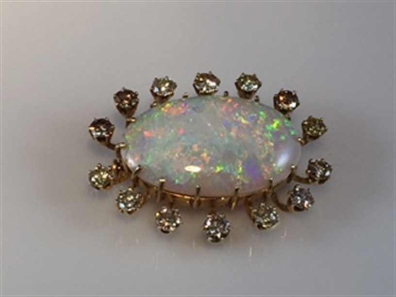 14K YG Opal and Diamond Brooch.