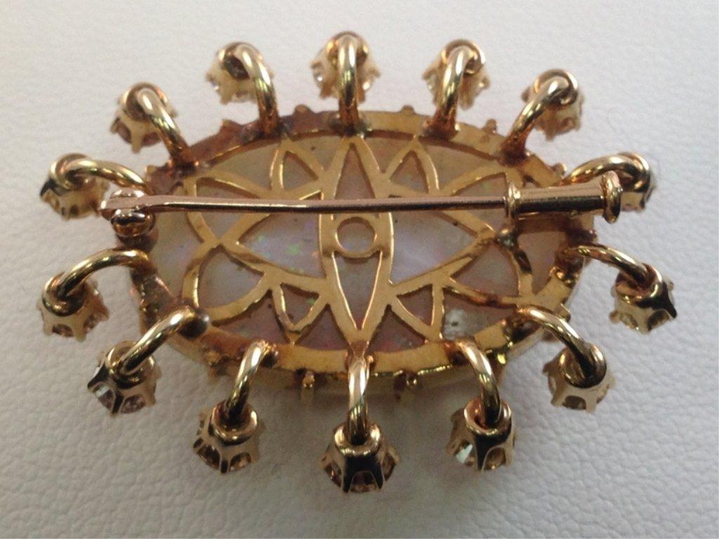 14K YG Opal and Diamond Brooch. - 5