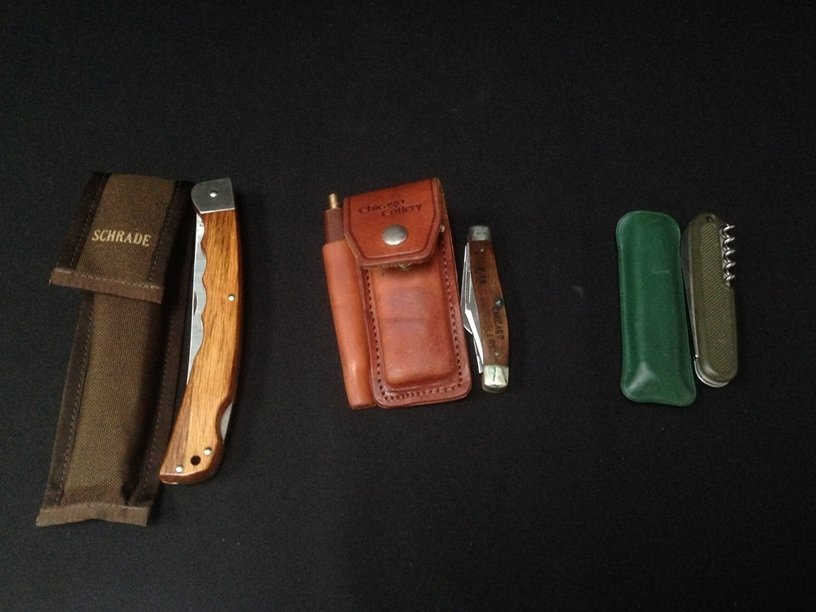 (3) Vintage Folding Knives, Schrade, Victorinox...