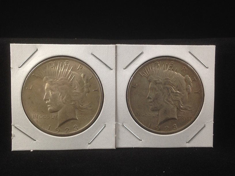 Lot of (2) 1923 Peace Silver Dollars