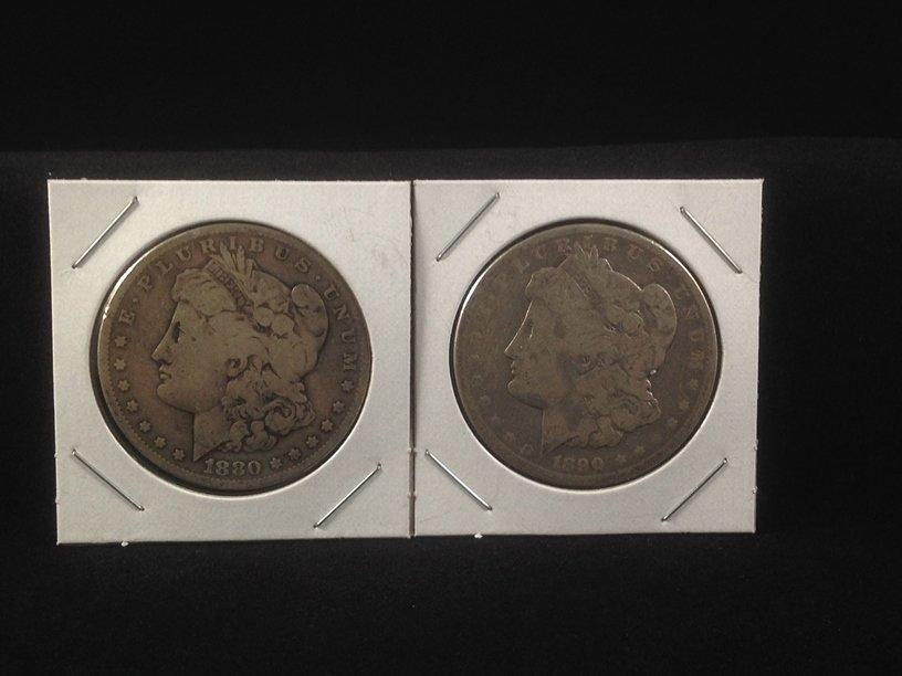 Lot of (2) Morgan Silver Dollars 1880 O & 1890