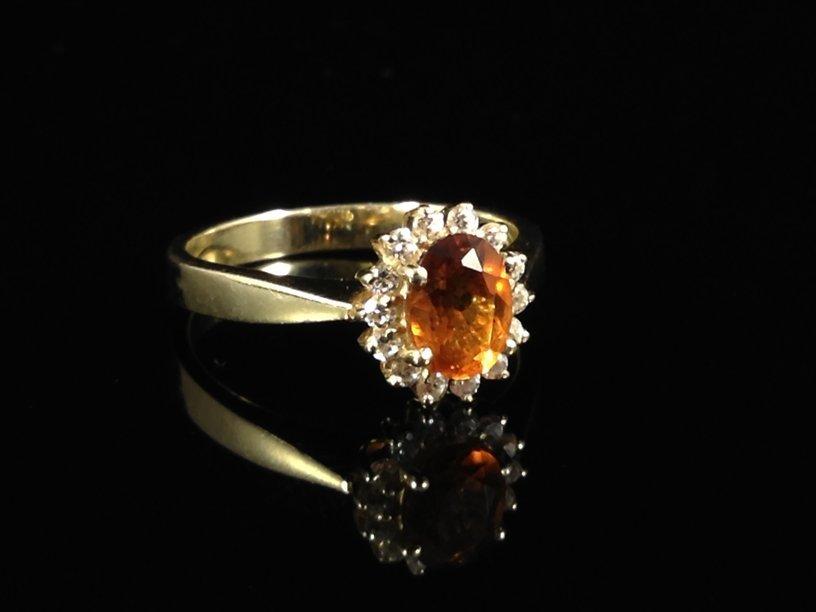 Vintage 14K YG Orange Citrine Ring.