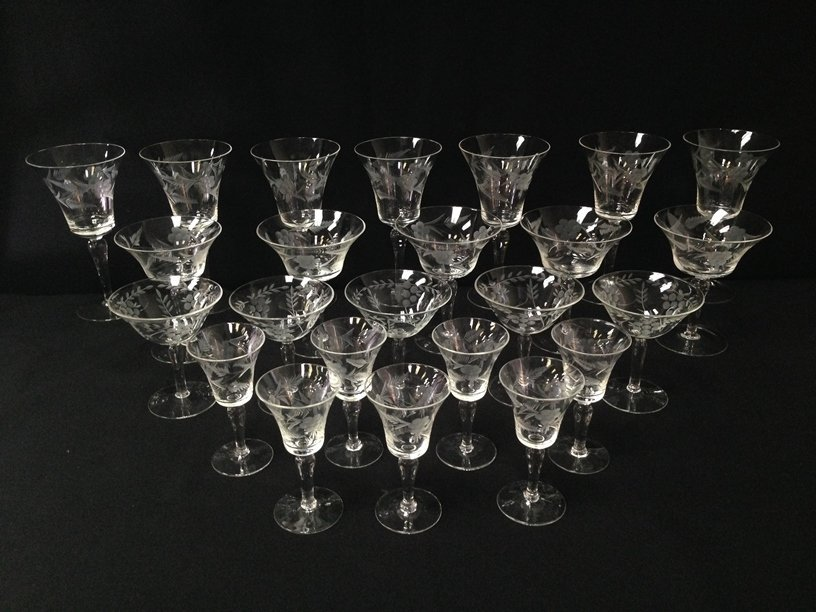 (24) Gorgeous Etched Crystal Stemware.