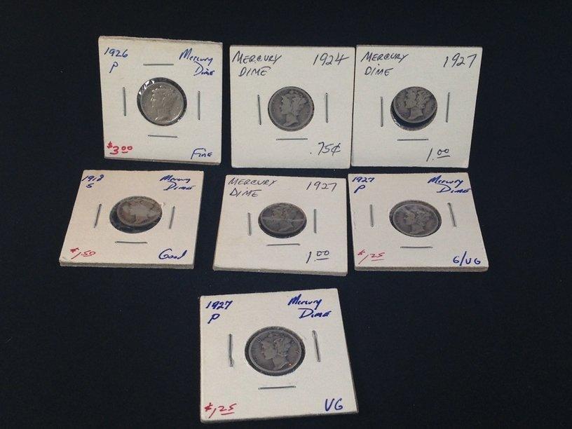 Lot of (7) Mercury Dimes