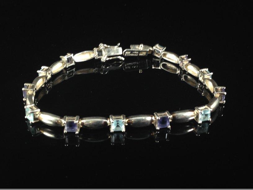 Sterling Silver Amethyst/Aqua Tennis Bracelet.