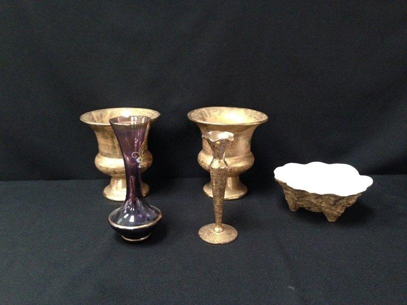 (5) 22K Gold on Pottery/Glass Decor Items.