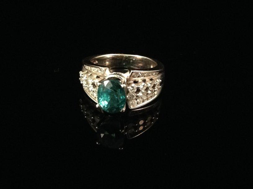 14 K White Gold Diamond and Zircon Ring Size 6 1/4