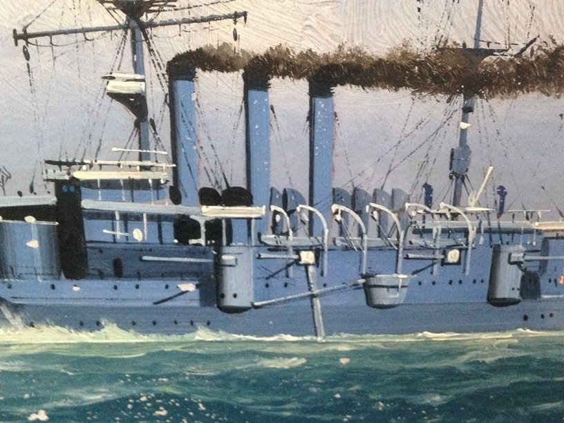 Japanese War Ship Oil Painting With Map. - 3