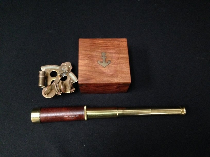 Nautical Brass Sextant in Box and Telescope.
