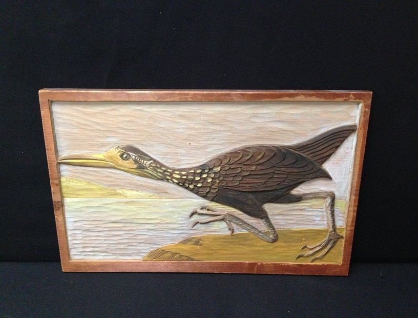 Wood Carved Wall hanging 'The Limpkin'.