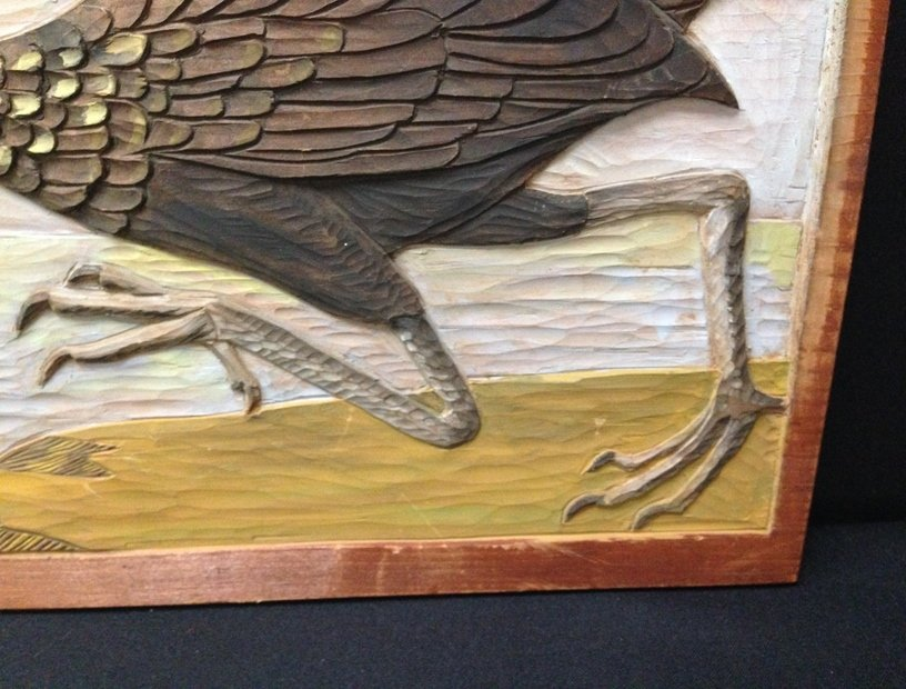 Wood Carved Wall hanging 'The Limpkin'. - 3
