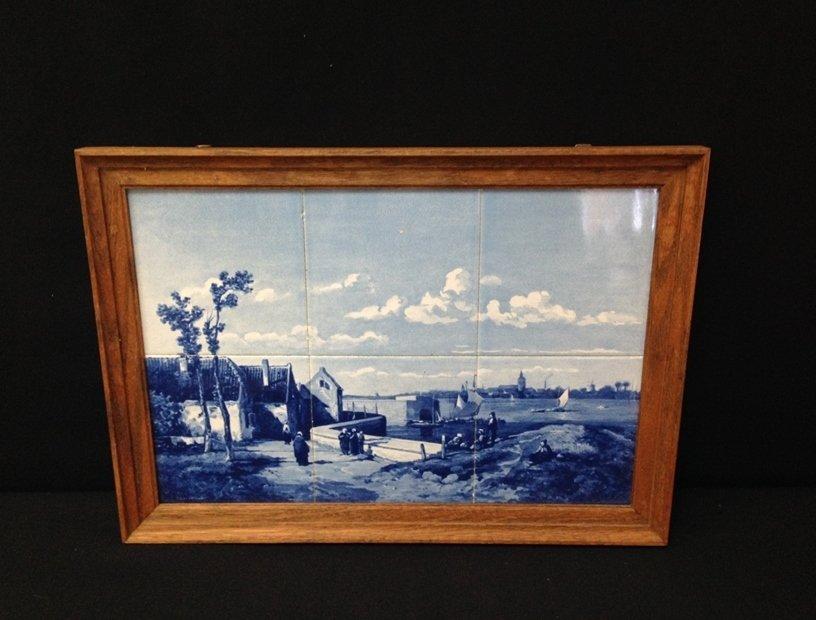 Framed DELFT Hand Painted Tile Scene.