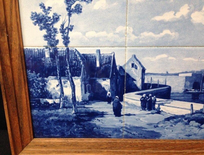 Framed DELFT Hand Painted Tile Scene. - 2