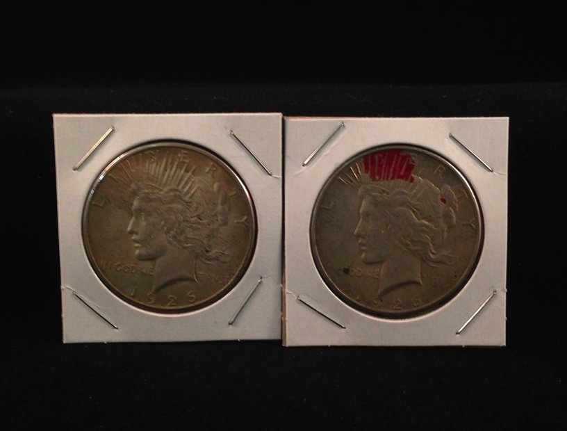 Lot of (2) 1926 S Peace Silver Dollars