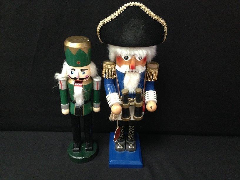 (2) Vintage Wood Soldier Nutcrackers.