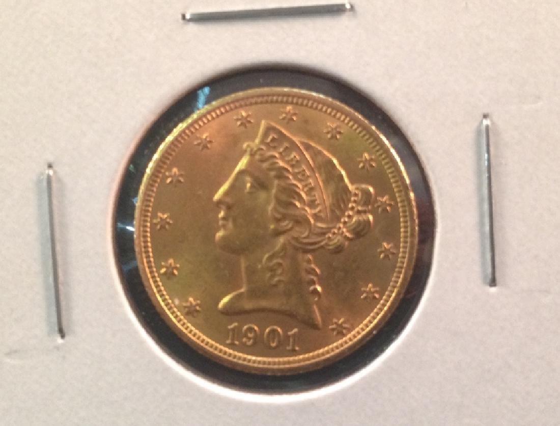 1901 $5 Liberty Gold Coin
