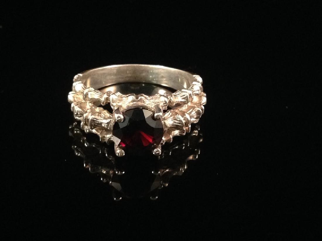 Vintage Sterling Silver 'Bamboo' Garnet Ring.