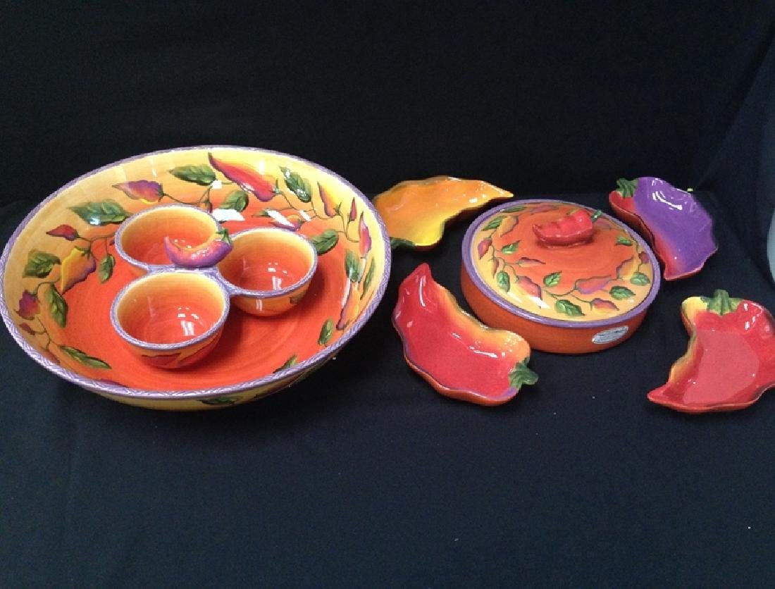 (8) Pieces Boxed Chili Fiesta Hand Painted Clay