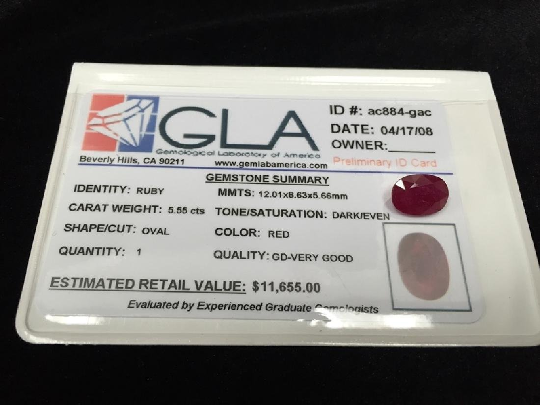 5.55 Carat Oval Cut Loose Gemstone GLA Appraised.