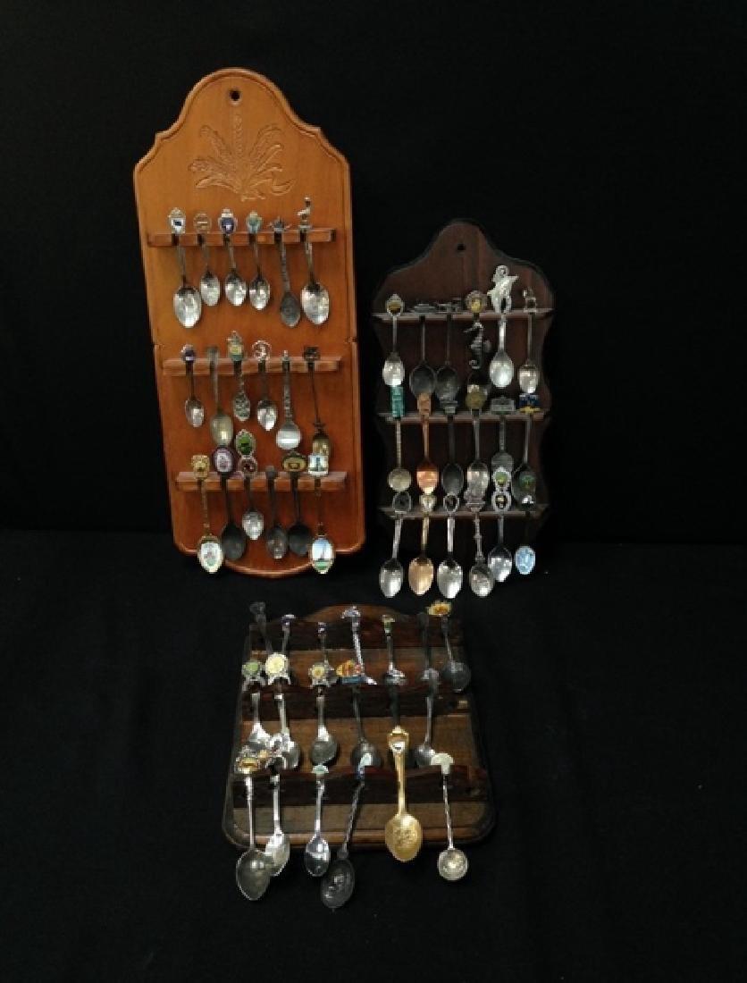 Lot (54) Souvenir Spoons On Display Plaques.