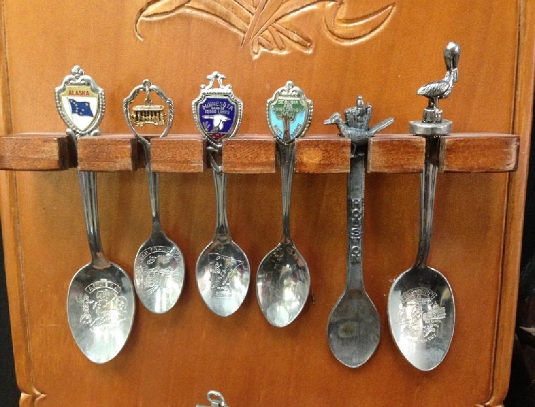 Lot (54) Souvenir Spoons On Display Plaques. - 5