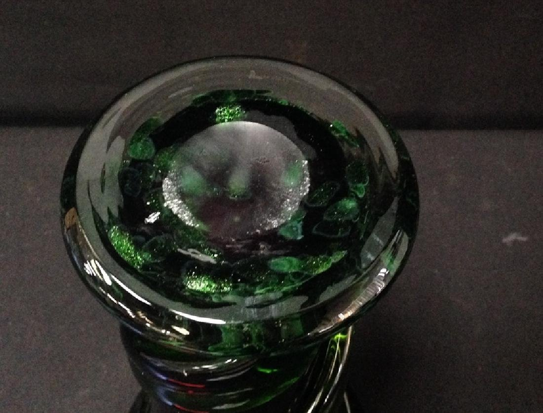 Blown Glass Purple & Green Art Vase. - 3