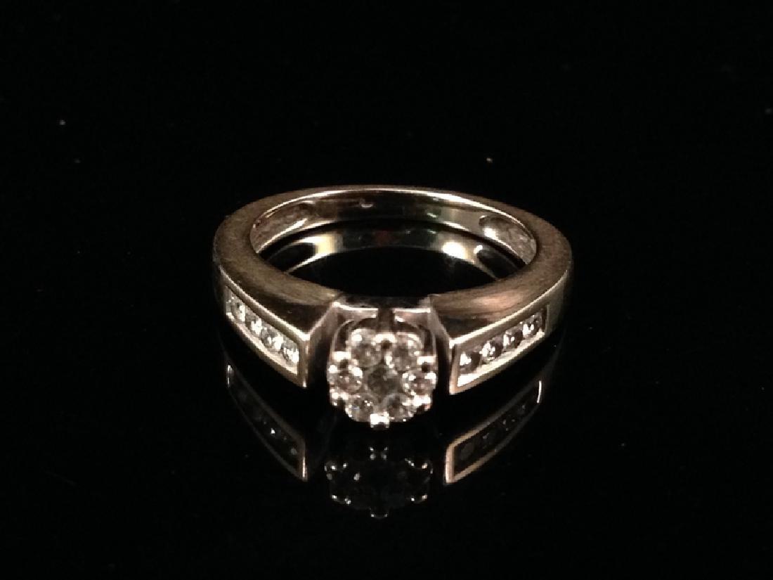 14 K White Gold & Diamond Ring size 4 1/2