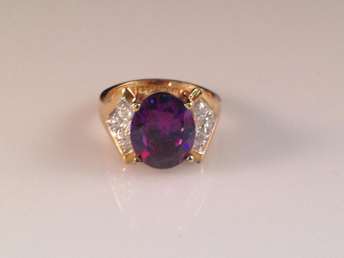 Sterling Vermeil Purple Stone Cocktail Ring.