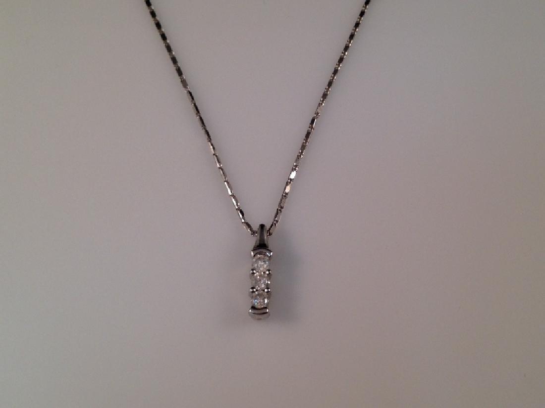 14K WG Triple Diamond Pendant on Chain.