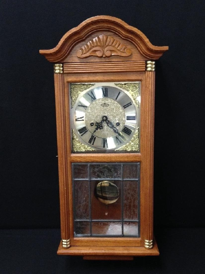 D&A Oak Parlor Wall Clock with Leaded Glass In