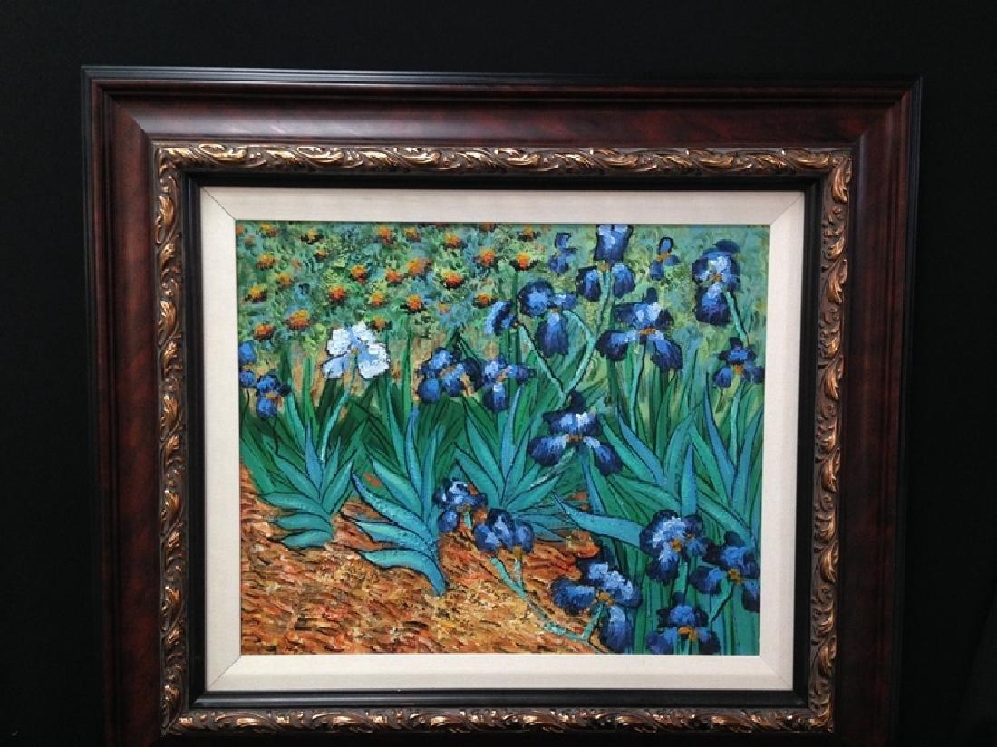 "After Van Gogh ""Irises"" Oil On Canvas."