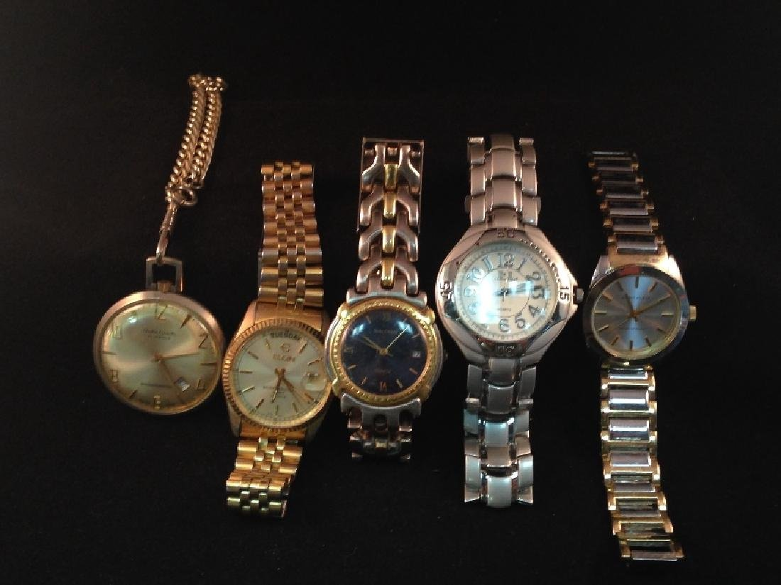Lot (5) Watches Waltham, Andre Rivalle & More.