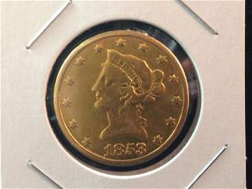 1853 O Liberty Head Gold Coin Better/Key Date