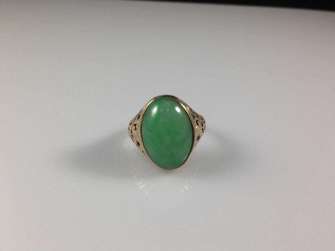14K YG Green Jade Cabochon Ring Sz 7.