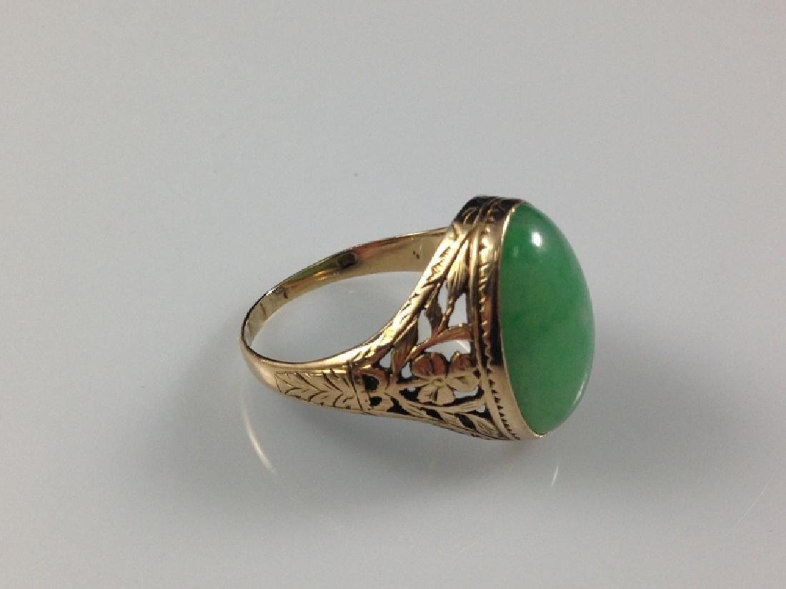 14K YG Green Jade Cabochon Ring Sz 7. - 2