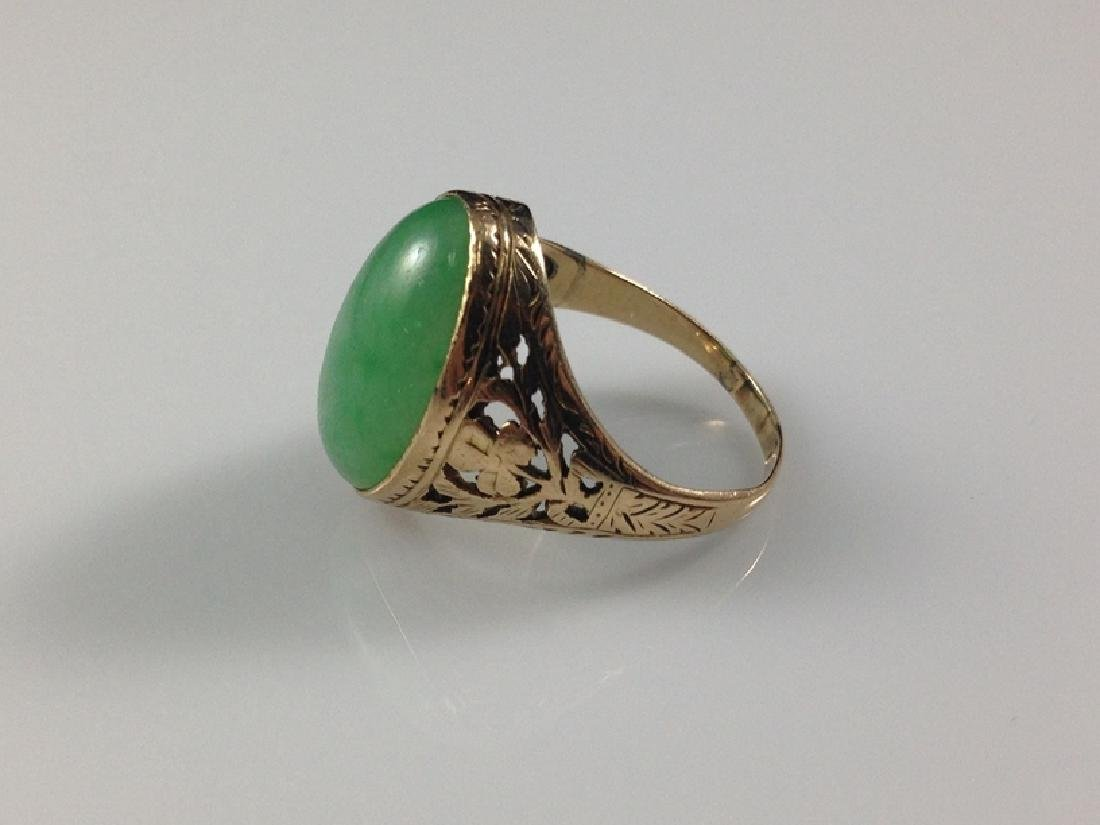 14K YG Green Jade Cabochon Ring Sz 7. - 3