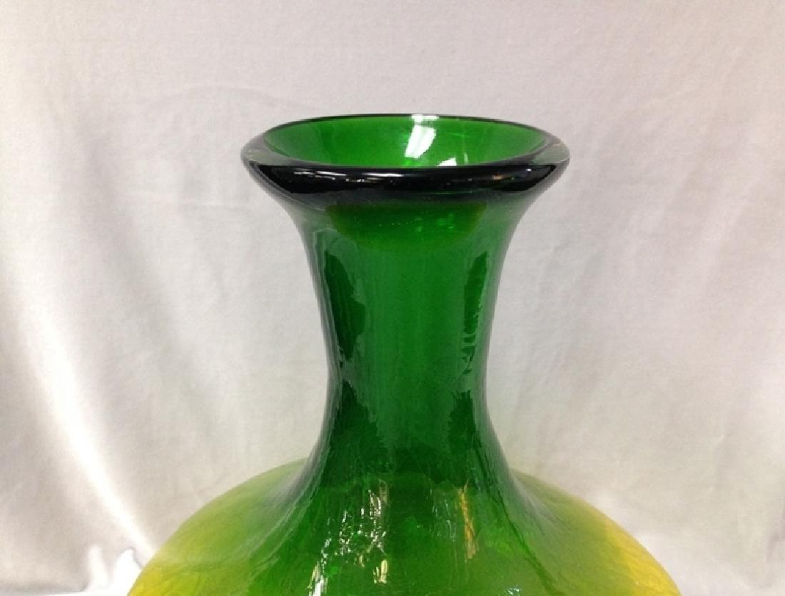 Vintage Handle Blown Green Art Glass Crackle Vase. - 8