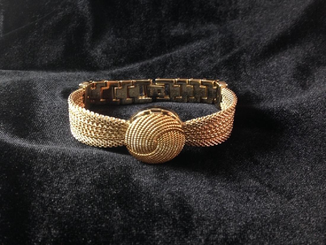 ANNE KLEIN Goldtone Mesh Bracelet Watch w/Diamond.