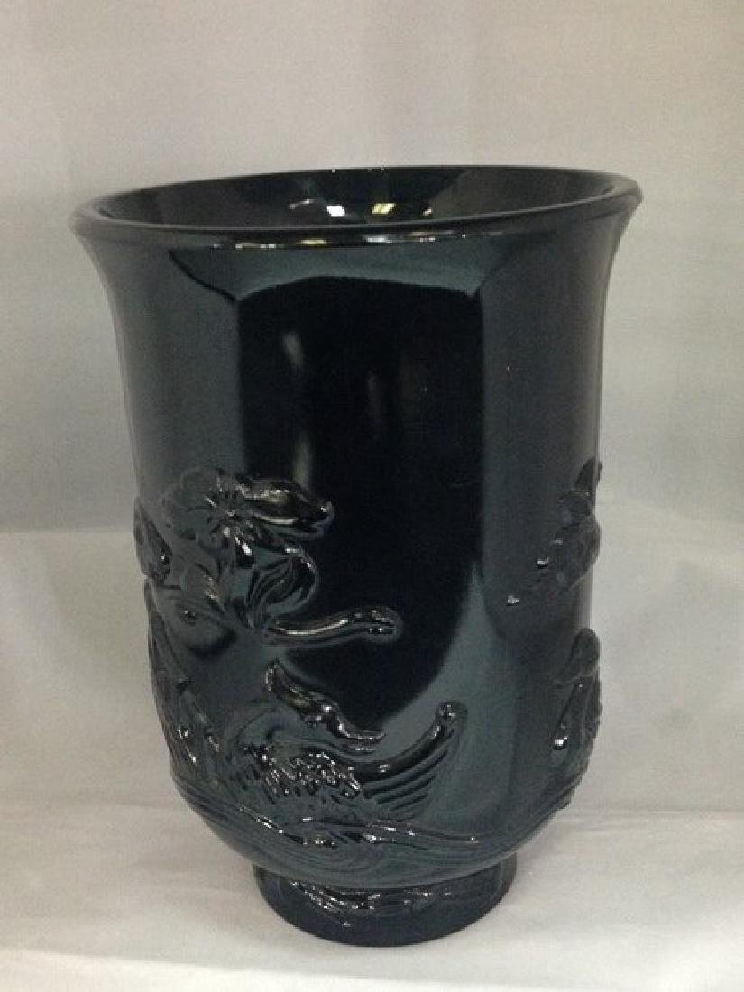 Vintage Black Amethyst Vase Asian Themed.
