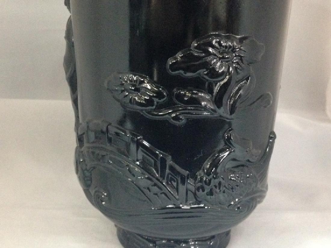 Vintage Black Amethyst Vase Asian Themed. - 2