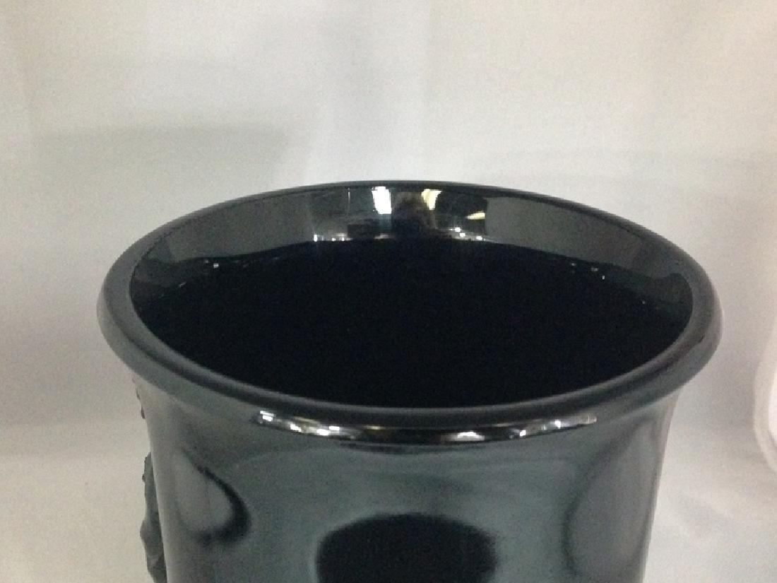 Vintage Black Amethyst Vase Asian Themed. - 3