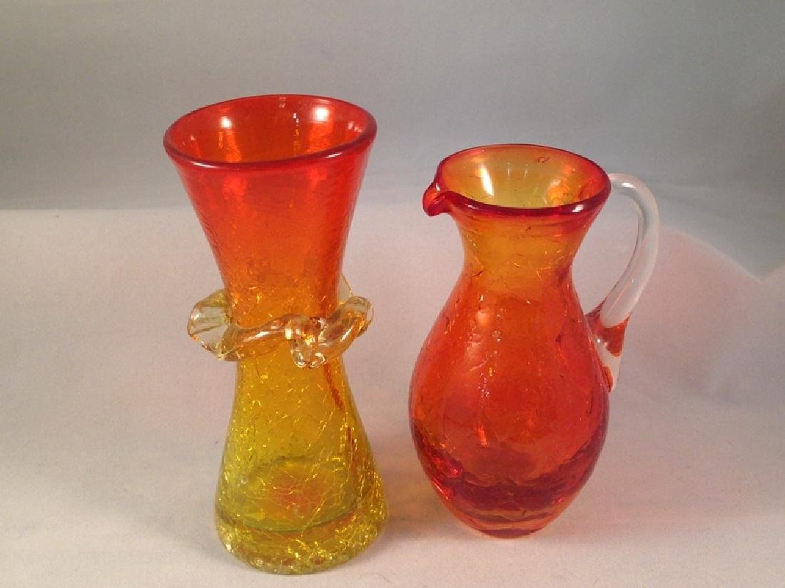 Lot (6) Pieces of Crackle Glassware. - 2