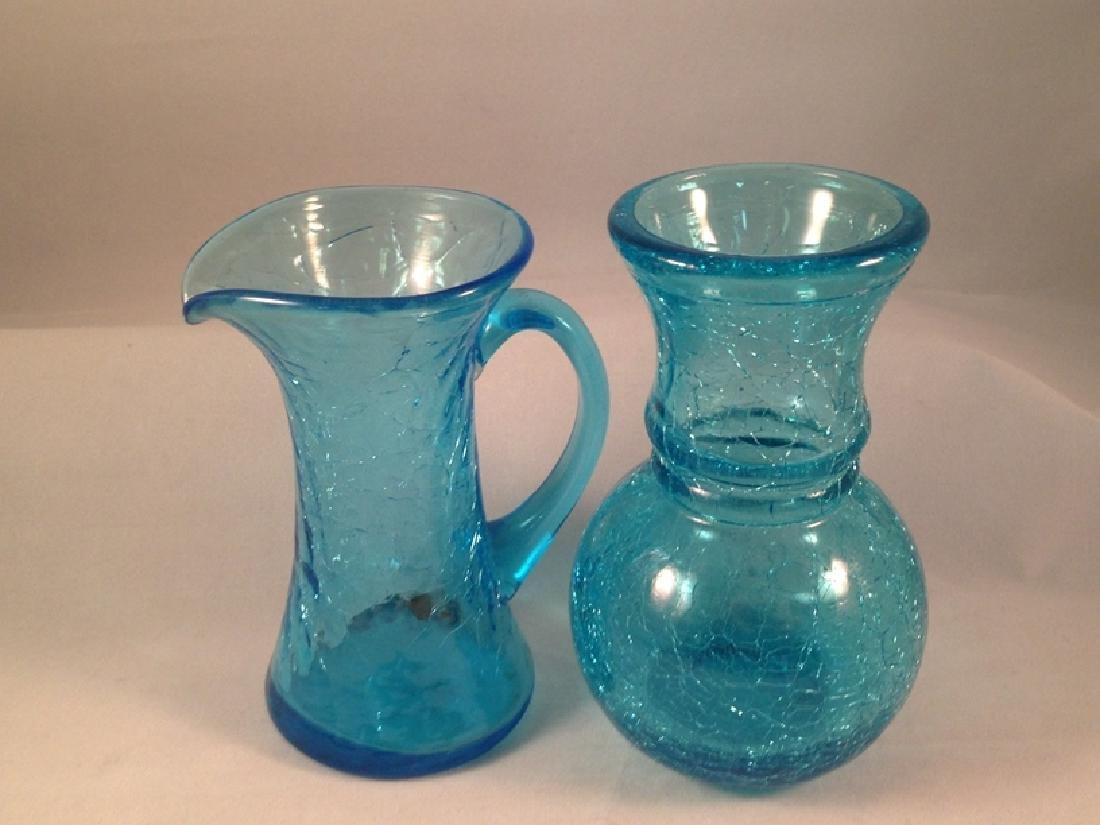 Lot (6) Pieces of Crackle Glassware. - 5