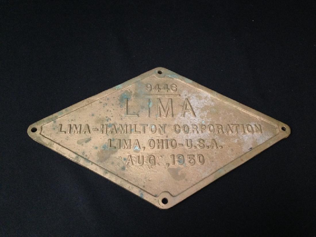 Vintage Lima-Hamilton Locomotive Corp Plaque.