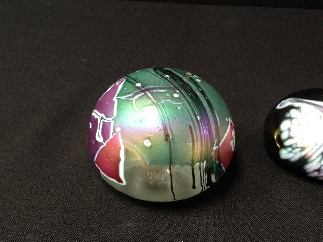 (2) Vintage Art Glass Paperweights (1 signed). - 2