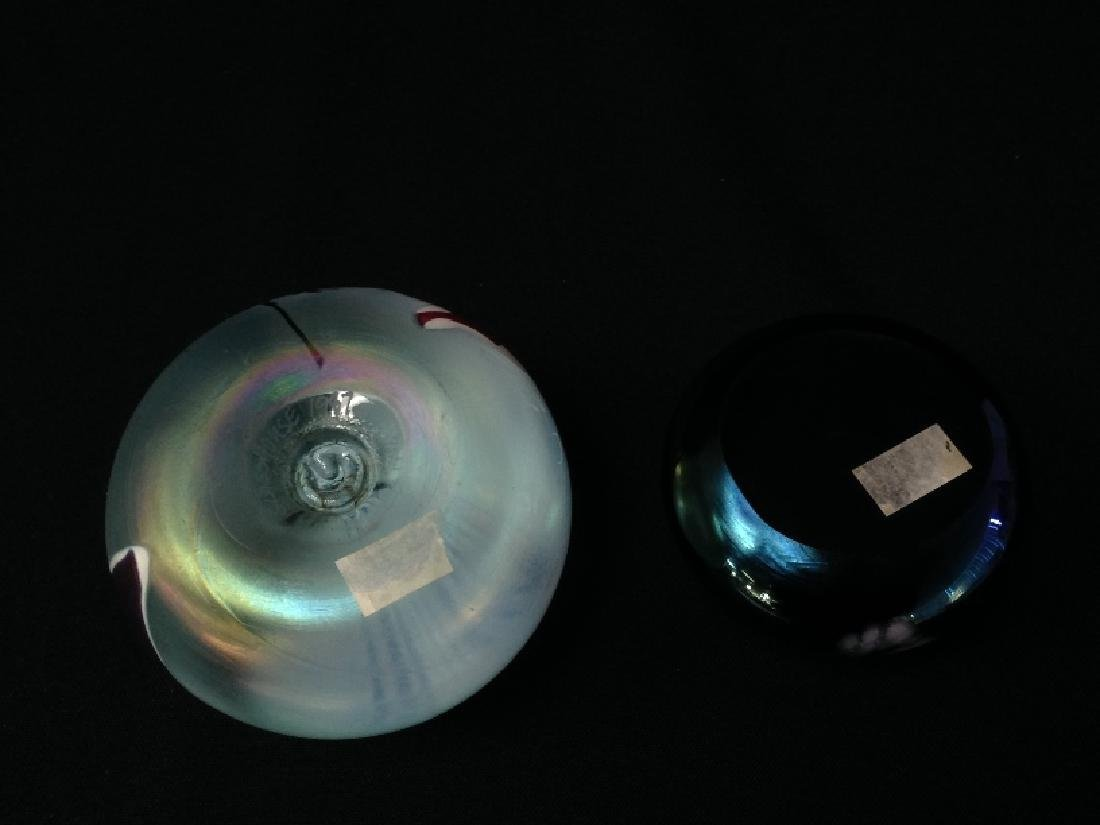 (2) Vintage Art Glass Paperweights (1 signed). - 6