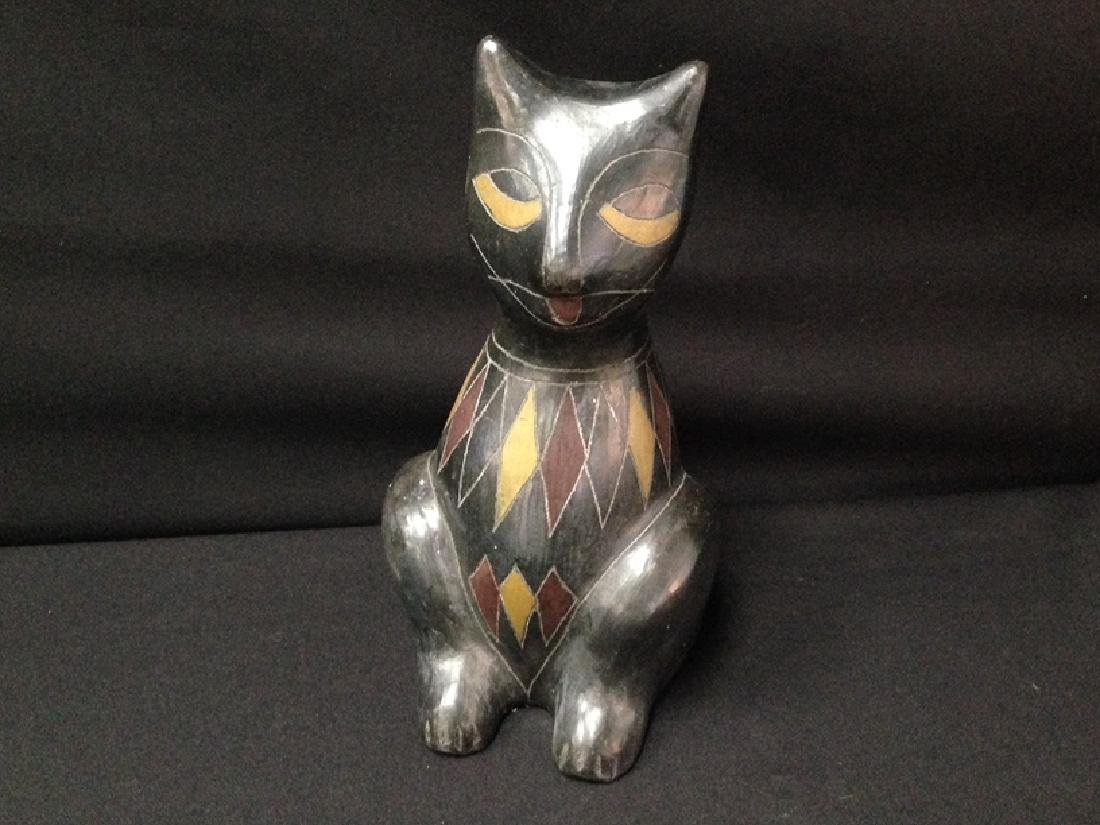 Vintage Black Cat Sculpture.