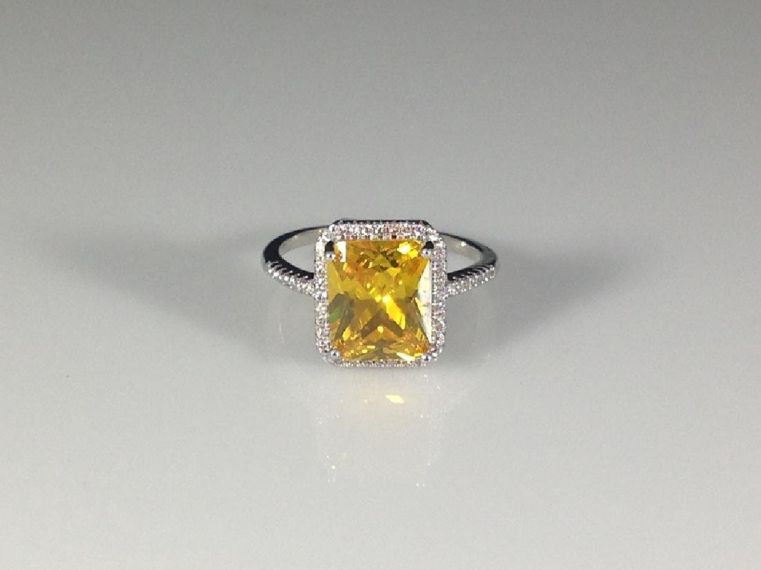 Sterling Silver Ring with Cushion Cut Yellow CZ.