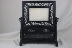 Chinese White Jade Table Screen
