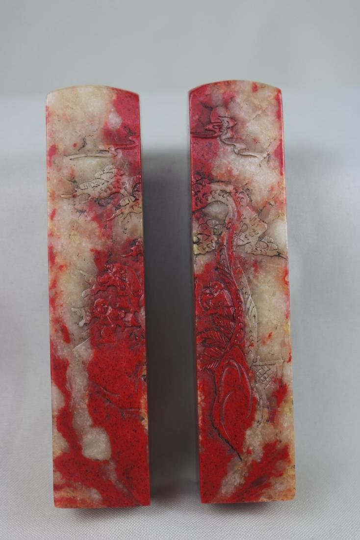 A Pair of Chinese Chicken Blood Seal